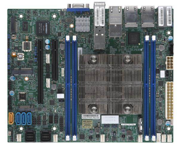 Supermicro MBD-X11SDV-16C-TP8F, Intel® Xeon® Processor D-2183IT 16C/32T 2.2Ghz - 3Ghz turbo - 100W, 4 x DDR-4, 4x1Gbe, 2x10Gbe, 2x10Gb SFP+