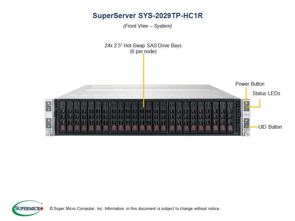 Supermicro SuperServer SYS-2029TP-HC1R: 4 servers in 2U TwinPro - 4x: 8 x SATA/SAS hot-swap 2.5'' // 16 x DDR-4 // redundant PSU // Broadcom 3108 SAS hardware RAID