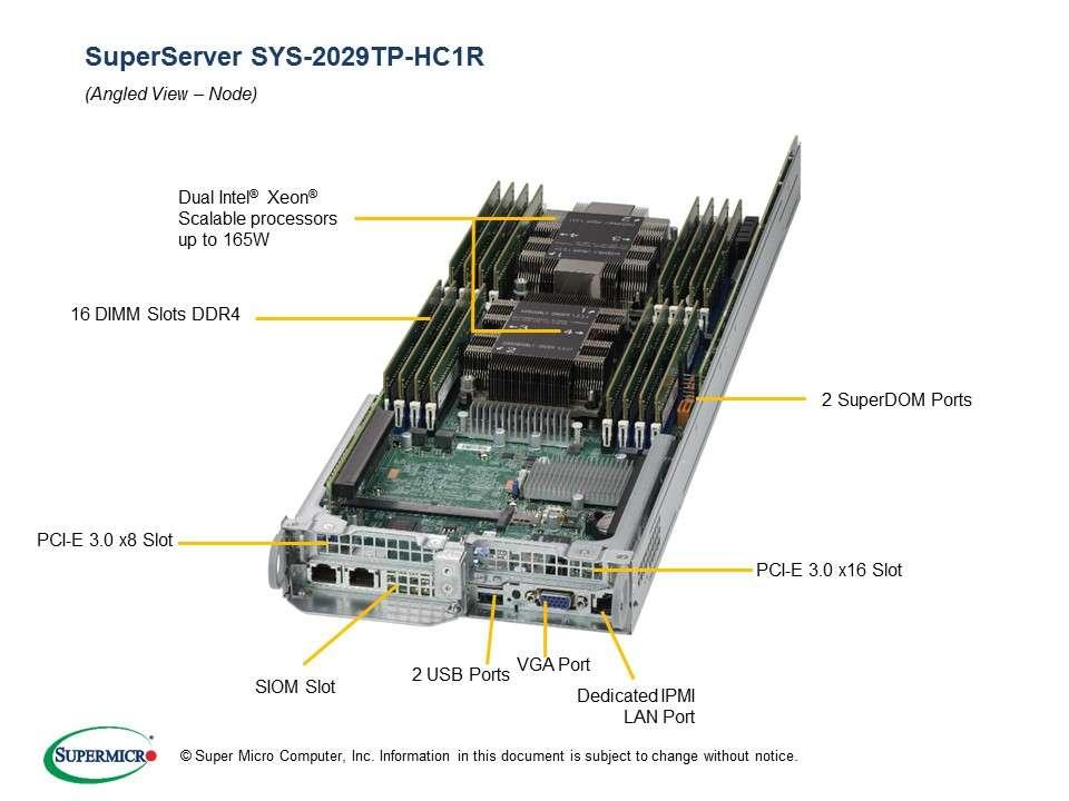 Supermicro SuperServer SYS-2029TP-HC1R: 4 servers in 2U TwinPro - 4x: 8 x SATA/SAS hot-swap 2.5'' // 16x DDR-4// redundant PSU // Broadcom 3108 SAS hardware RAID