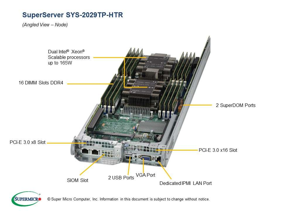 Supermicro SuperServer SYS-2029TP-HTR: 4 servers in 2U TwinPro - 4x: 8 x SATA/SAS hot-swap 2.5'' // 16 x DDR-4 // redundant PSU