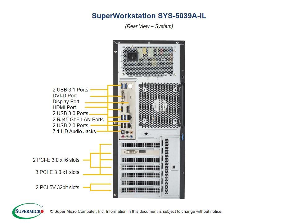 "Supermicro SuperWorkstation SYS-5039A-iL triple monitor: max. 4 x SATA 3.5"" // 4 x SATA 2.5""  // 4 x DDR-4"