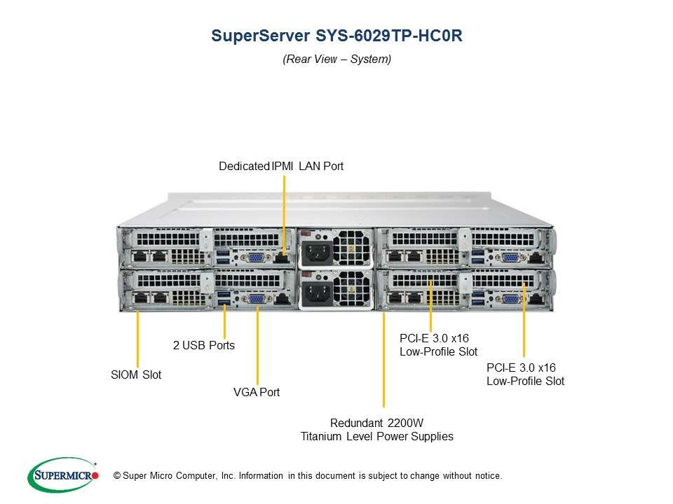Supermicro SuperServer SYS-6029TP-HC0R: 4 servers in 2U TwinPro - 4x: 3 x SATA/SAS hot-swap // 16 x DDR-4 // redundant PSU // Broadcom 3008 SAS HBA