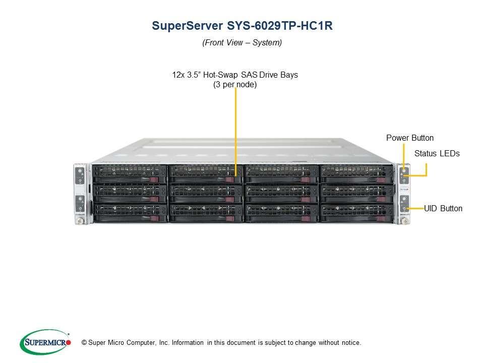 Supermicro SuperServer SYS-6029TP-HC1R: 4 servers in 2U TwinPro - 4x: 3 x SATA/SAS hot-swap // 16x DDR-4// redundant PSU // Broadcom 3108 SAS hardware RAID