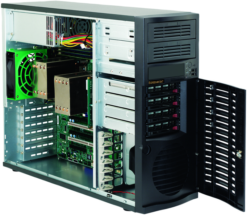 Supermicro SC733TQ-668B, 4 x SATA/SAS hot-swappable, tower, 668W Platinum  Level Certified High-Efficiency Power Supply, low noise